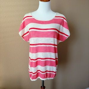 Short-sleeved striped sweater